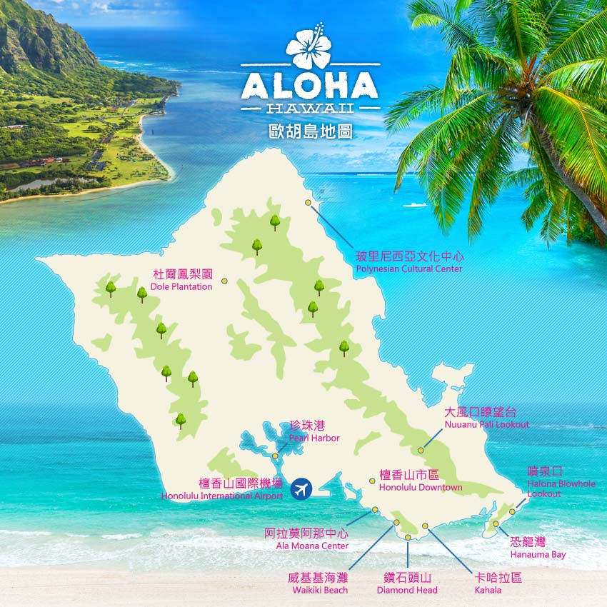 夏威夷歐胡島地圖
