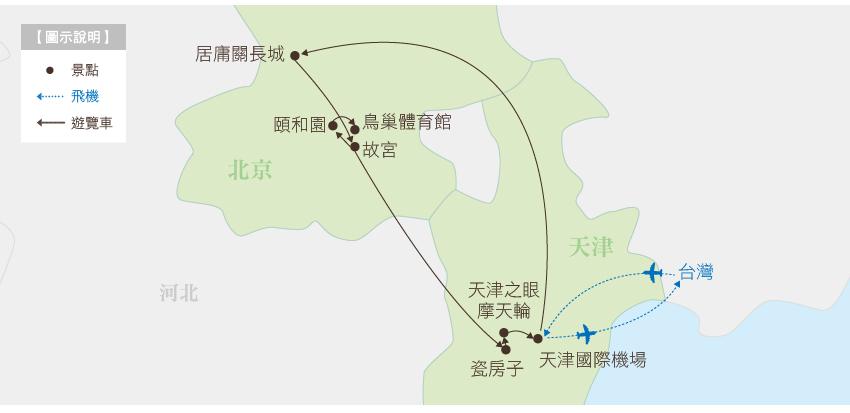 中國 樂遊雙城 北京天津行程地圖