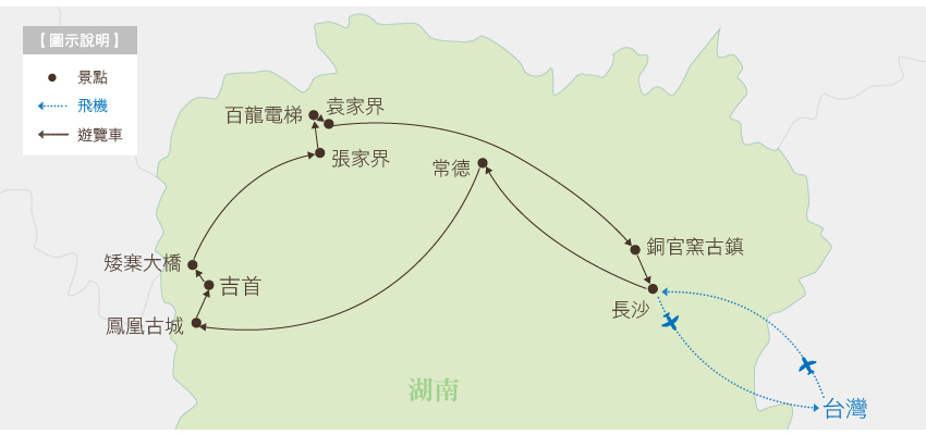 湖南玩樂張家界行程地圖
