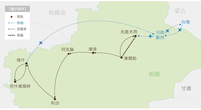 南疆行程地圖