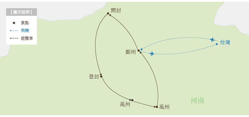河南行程地圖