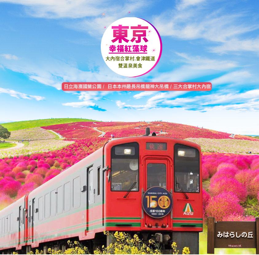 虎楓紅~東京幸福紅藻球.大內宿合掌村.會津鐵道.千波湖美食4日遊