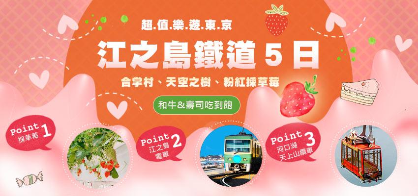 樂遊東京江之島鐵道、河口湖天上山纜車、合掌村、天空之樹、粉紅採草莓