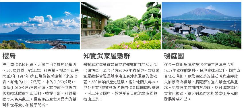 櫻島、知覧武家屋敷群、磯庭園