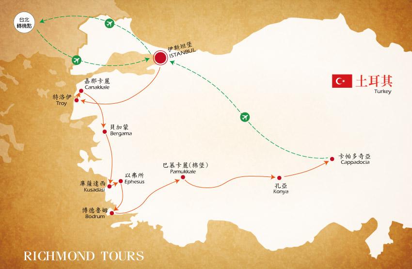 土耳其豪華11日地圖