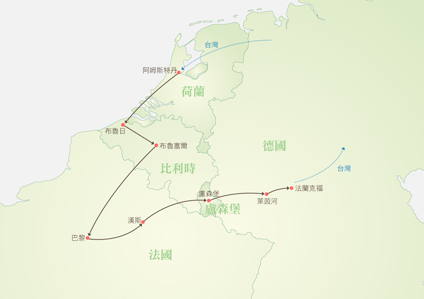 荷比法盧德全覽9日行程地圖