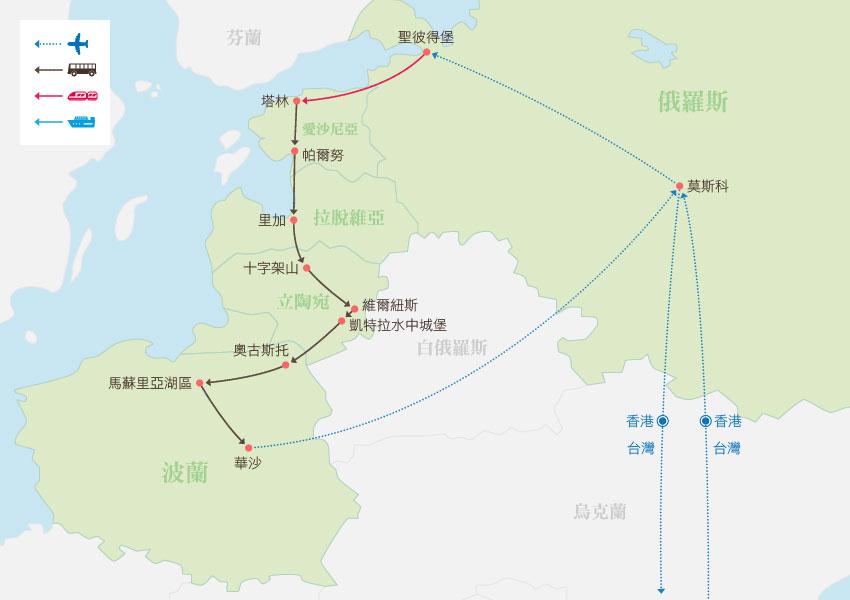 地圖_俄羅斯、愛沙尼亞、拉脫維亞、立陶宛、波蘭