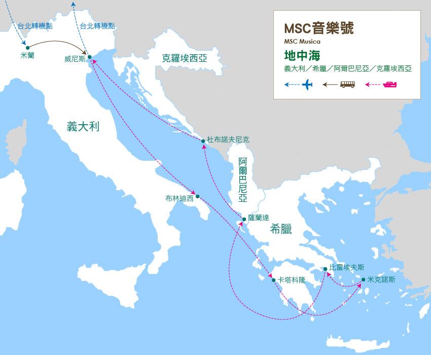 地圖_義大利、希臘、阿爾巴尼亞、克羅埃西亞